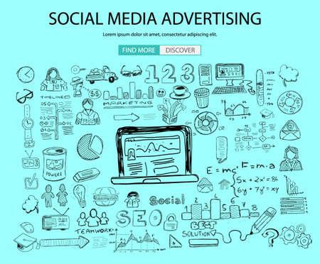 concept de Social Media Advertising avec Doodle style design: solution en ligne, campain des médias sociaux, les idées créatives, moderne illustration de style pour bannières web, brochure et flyers.