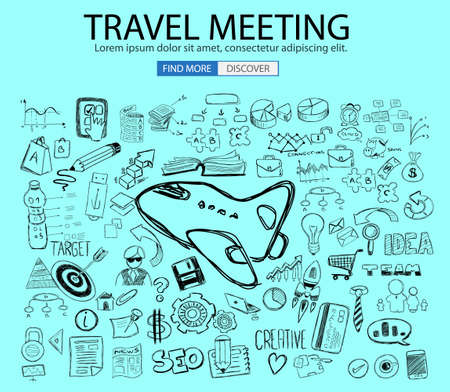 classification: Travel for Business concept  with Doodle design style :finding routes, Best Prices, Hotel Classification . Modern style illustration for web banners, brochure and flyers.