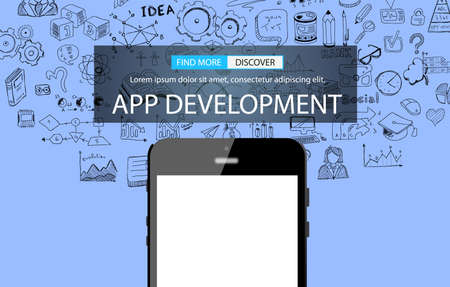 App Development Infpgraphic Concept Background with Doodle design style :user interfaces, UI design,mobiel devices. Modern style illustration for web banners, brochure and flyers. Illustration