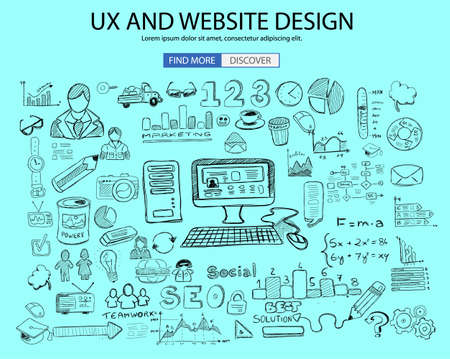 digital marketing: UX Website Design  concept with Doodle design style: online solution, social media campain, creative ideas,Modern style illustration for web banners, brochure and flyers.