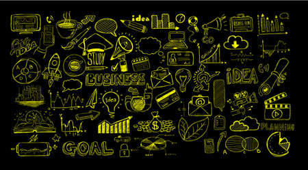 business it: Business doodles Sketch set : infographics elements isolated, vector shapes. It include lots of icons included graphs, stats, devices,laptops, clouds, concepts and so on.