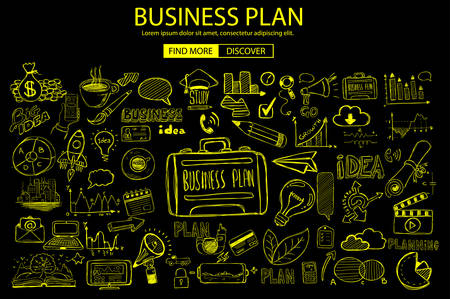 web solution: Business Planning  concept with Doodle design style: online solution, social media campain, creative ideas,Modern style illustration for web banners, brochure and flyers.