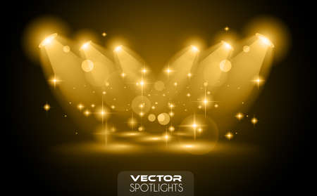 Vector Spotlights scene with different source of lights pointing to the floor or shelf. Ideal for featuring products. Lights are transparent so ready to be placed on every surface. Ilustrace