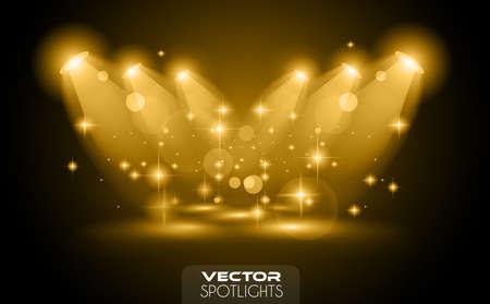 Światła: Wektor Reflektory scena z innego źródła świateł wskazujących na podłodze lub na półce. Idealny dla wyposażony produktów. Światła są przezroczyste, więc gotowe do umieszczenia na każdej powierzchni. Ilustracja