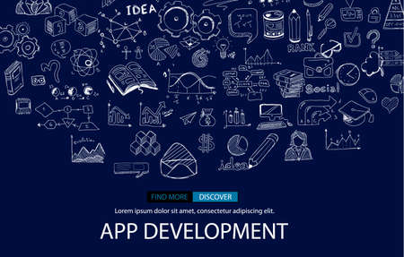 freelancing: App Development Infpgraphic Concept Background with Doodle design style :user interfaces, UI design,mobiel devices. Modern style illustration for web banners, brochure and flyers. Illustration