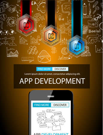 web development: App Development Infpgraphic Concept Background with Doodle design style :user interfaces, UI design,mobiel devices. Modern style illustration for web banners, brochure and flyers. Illustration