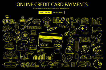 spending: Online credit card payment concept with Doodle design style online purchases, banking, money spending. Modern style illustration for web banners, brochure and flyers.