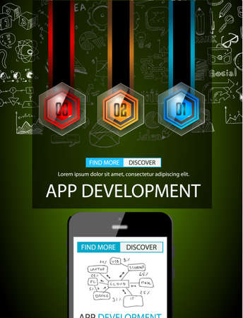 applications: App Development Infpgraphic Concept Background with Doodle design style