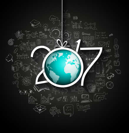 year greetings: 2017 New Year Infographic and Business Plan Background for your Flyers and Greetings Card with Hand Crawn Business and infographic sketches.