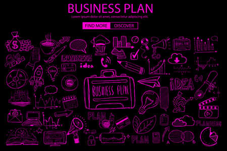 creative planning: Business Planning  concept with Doodle design style: online solution, social media campain, creative ideas,Modern style illustration for web banners, brochure and flyers.