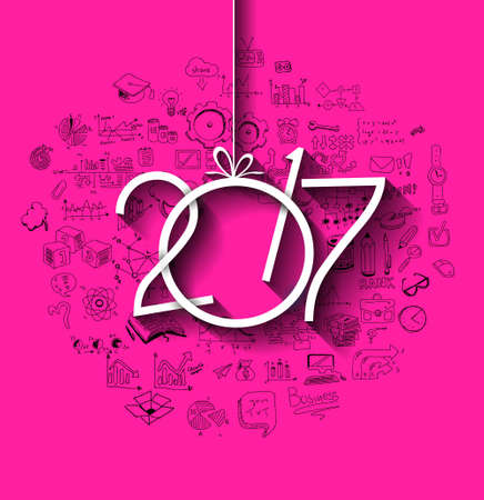 creativity: 2017 New Year Infographic and Business Plan Background for your Flyers and Greetings Card with Hand Crawn Business and infographic sketches.