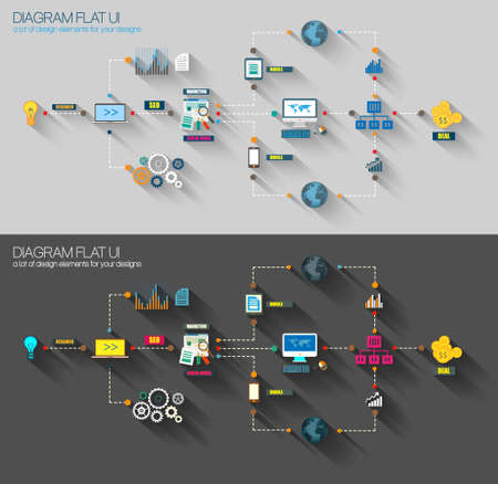mobile marketing: Flat Style Diagram, Infographic and UI Icons to use for your business project, marketing promotion, mobile advertising, research and analytics.