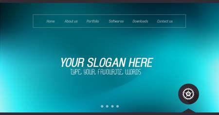 Site Minimal Page Home Design avec curseur de fond et de l'espace pour le texte en-tête et pied de page.