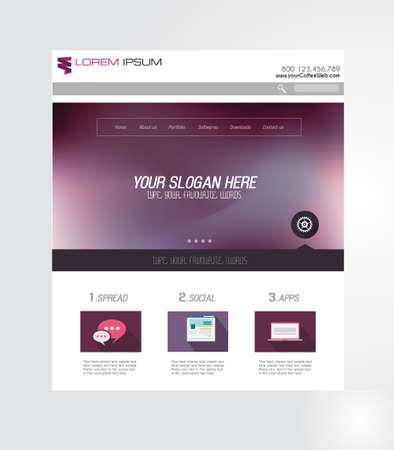 Site Minimal Page Home Design avec curseur de fond et de l'espace pour le texte en-tête et pied de page. Vecteurs