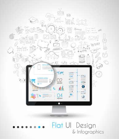 Solution d'affaires et Idea fond conceptuel avec un PC de bureau et de la main doodle dessiné esquissés avec beaucoup de thèmes différents. Vecteurs