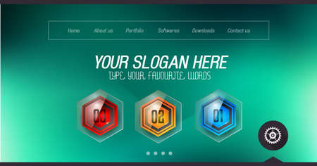 slider: Minimal Website Home Page Design with Slider background and space for text in header and footer. Illustration