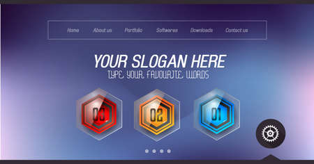 home page: Minimal Website Home Page Design with Slider background and space for text in header and footer. Illustration