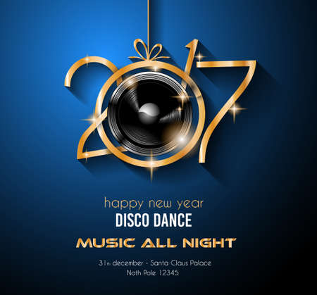 club: 2017 Happy New Year Disco Party Background for your Flyers and Greetings Card. Ideal to use for parties invitation, Dinner invitation, Christmas Meeting events and so on.