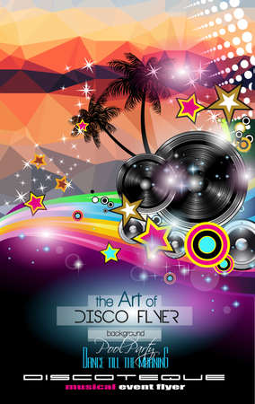 Club Disco Flyer Template With Music Elements And Colorful Scalable