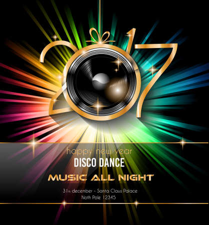 dinner party: 2017 Happy New Year Disco Party Background for your Flyers and Greetings Card. Ideal to use for parties invitation, Dinner invitation, Christmas Meeting events and so on.