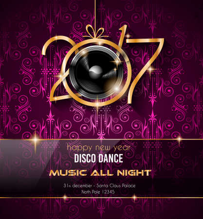 party club: 2017 Happy New Year Disco Party Background for your Flyers and Greetings Card. Ideal to use for parties invitation, Dinner invitation, Christmas Meeting events and so on.
