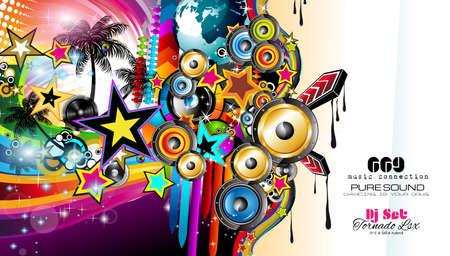 plantilla del club Disco Volante con elementos de la música y fondos coloridos escalables. Una gran cantidad de volante de estilo diffente para su techno, hip hop, electro de música o de metal de eventos carteles y material impreso de publicidad.
