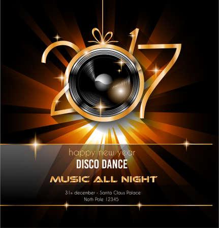 2017 Gelukkig Nieuwjaar Disco Party Achtergrond voor uw flyers en Groeten Card. Ideaal om te gebruiken voor feesten uitnodiging, uitnodiging Diner, Kerstmis Meeting evenementen en ga zo maar door. Vector Illustratie