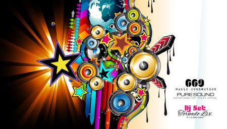 Modèle Club Disco Flyer avec des éléments de musique et de milieux Scalable colorés. Beaucoup de prospectus de style diffente pour votre techno, hip hop, électro ou de musique de métal événement affiches et matériel publicitaire imprimé.