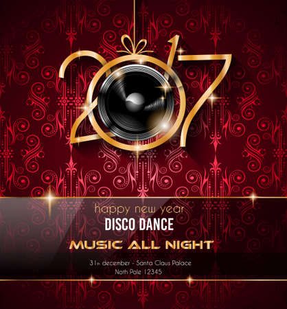 new year party: 2017 Happy New Year Party Background for your Flyers and Greetings Card. Ideal for 30st dicember discoteque nighclub events! Illustration