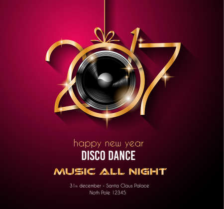 2017 Happy New Year Party Background for your Flyers and Greetings Card. Ideal for 30st dicember discoteque nighclub events! Illustration