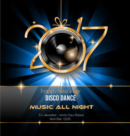 2017 Happy New Year Party Background for your Flyers and Greetings Card. Ideal for 30st dicember discoteque nighclub events! Stock Illustratie