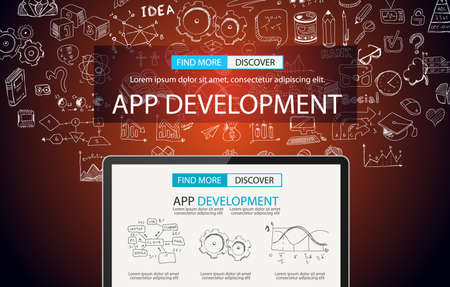 web development: App Development Concept Background with Doodle design style :user interfaces, UI design,mobiel devices. Modern style illustration for web banners, brochure and flyers. Stock Photo