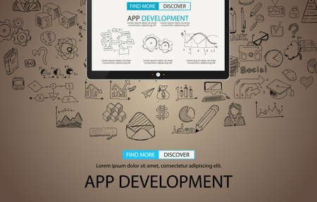 freelancing: App Development Concept Background with Doodle design style :user interfaces, UI design,mobiel devices. Modern style illustration for web banners, brochure and flyers. Stock Photo