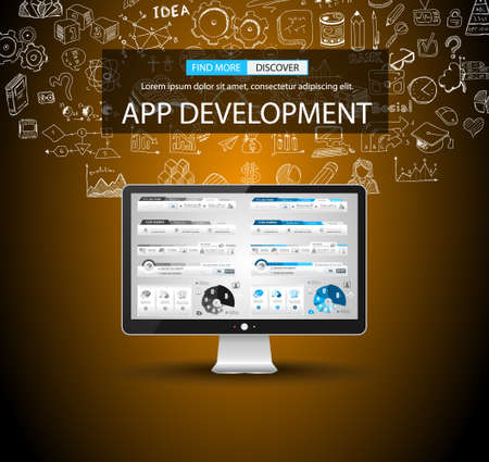 business development: App Development Concept Background with Doodle design style background for Business Brocure or Corporate Flyer Covers.