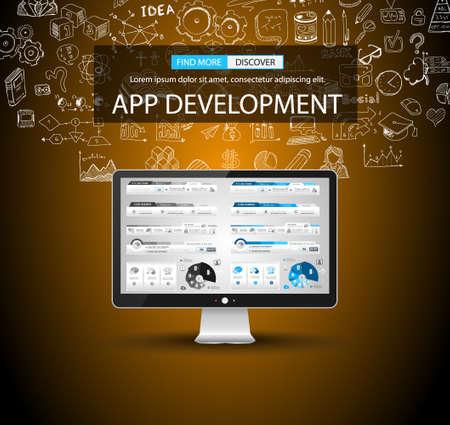 App Development concept met Doodle design stijl achtergrond voor het bedrijfsleven brocure of Zakelijk Flyer Covers. Stock Illustratie