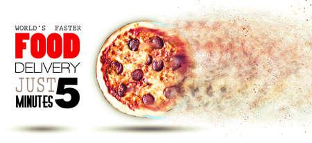 Image rapide Concept Food Delivery pour la publicité avec une pizza volante et une boîte plat couleur avec place pour le texte, très facile à remplacer.