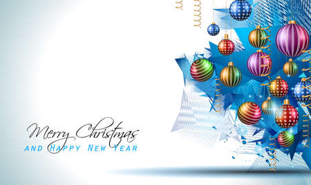 modern christmas baubles: Christmas Modern Background with balls and star lights with abstract elements for outstanding greeting card or dinner invitations.