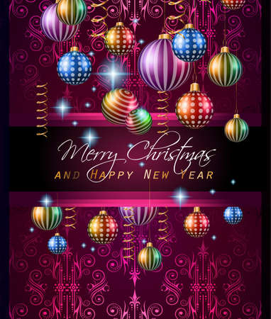 Christmas Vintage Classic Background with balls and star lights with a lot of space for text. Ideal  for outstanding greeting card or dinner invitations. Illustration