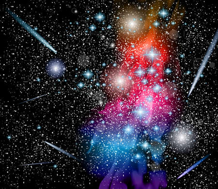 Vector Milky Way Galaxy Illustraton with rainbow colors, millions of stars and light points. Illustration