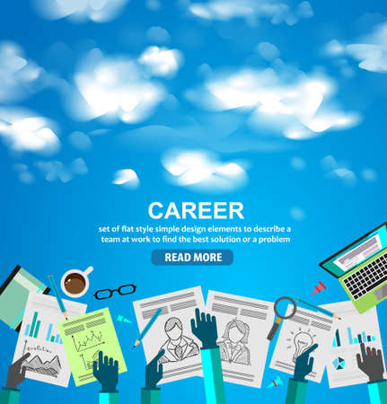 Career in Business concept  with Doodle design style :people inteview, skill testing, clear selection. Modern style illustration for web banners, brochure and flyers. Illustration