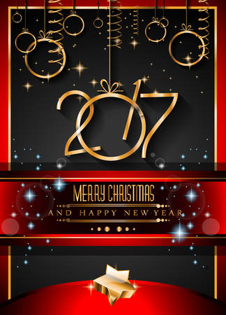 new year poster: 2017 Happy New Year Background for your Flyers and Greetings Card. Ideal for Poster, covers and invitations.
