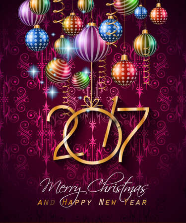 color balls: 2017 Happy New Year Background for your Seasonal Flyers and Greetings Card.