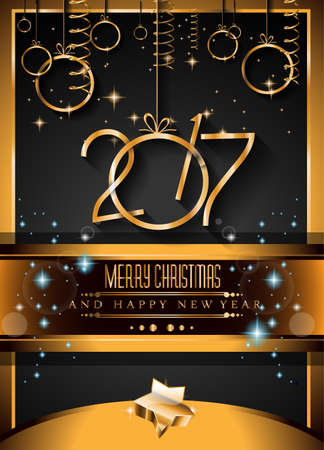 new year eve: 2017 Happy New Year Background for your Seasonal Flyers and Greetings Card.