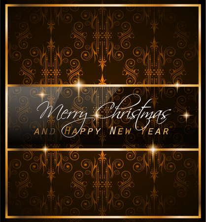 feestelijk: Kerstmis Vintage Klassieke Achtergrond met ballen en ster verlichting met veel ruimte voor tekst. Ideaal voor een uitstekende wenskaart of diner uitnodigingen.