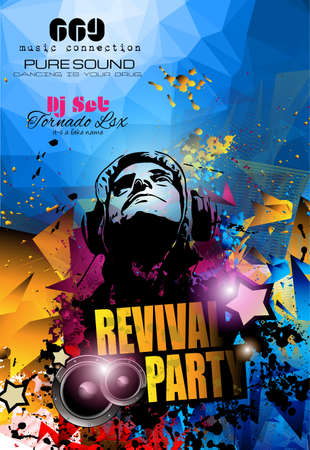 Club Disco Flyer template with Music Elements , Colorful Scalable backgrounds and space for Text. Ideal for Dancing Event posters or for printed promotional materials. 일러스트