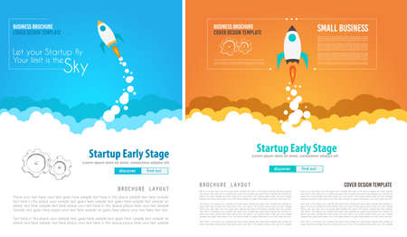 space cartoon: Startup Landing Webpage or Corporate Design Covers to use for web promotons, printed related materials or company presentation. Space for text.