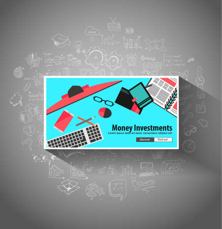 investmen: Money Investment concept with Doodle design style saving solution, investmen studies, stock graphs. Modern style illustration for web banners, brochure and flyers. Illustration