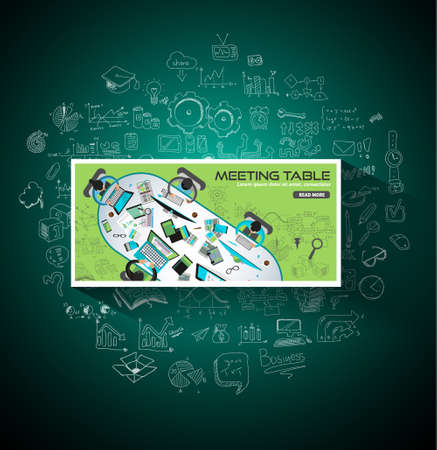 strategy meeting: Flat Style Design Concepts for meeting table, business strategy, finance, brainstorming, management, human resources, recruitment, staff training.Ideal for printed material or web banners.