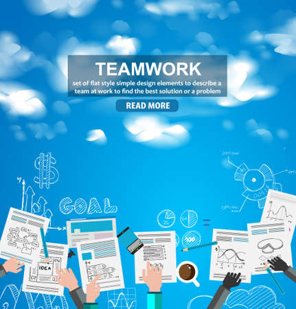Teamwork Business concept with doodles Sketch background: infographics vector elements isolated, . It include lots of icons included graphs, stats, devices,laptops, clouds, concepts and so on.