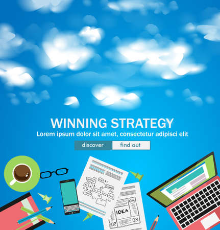 web solution: Winning Strategy for Business Concept with Doodle design style :finding solution, brainstorming, creative thinking. Modern style illustration for web banners, brochure and flyers.